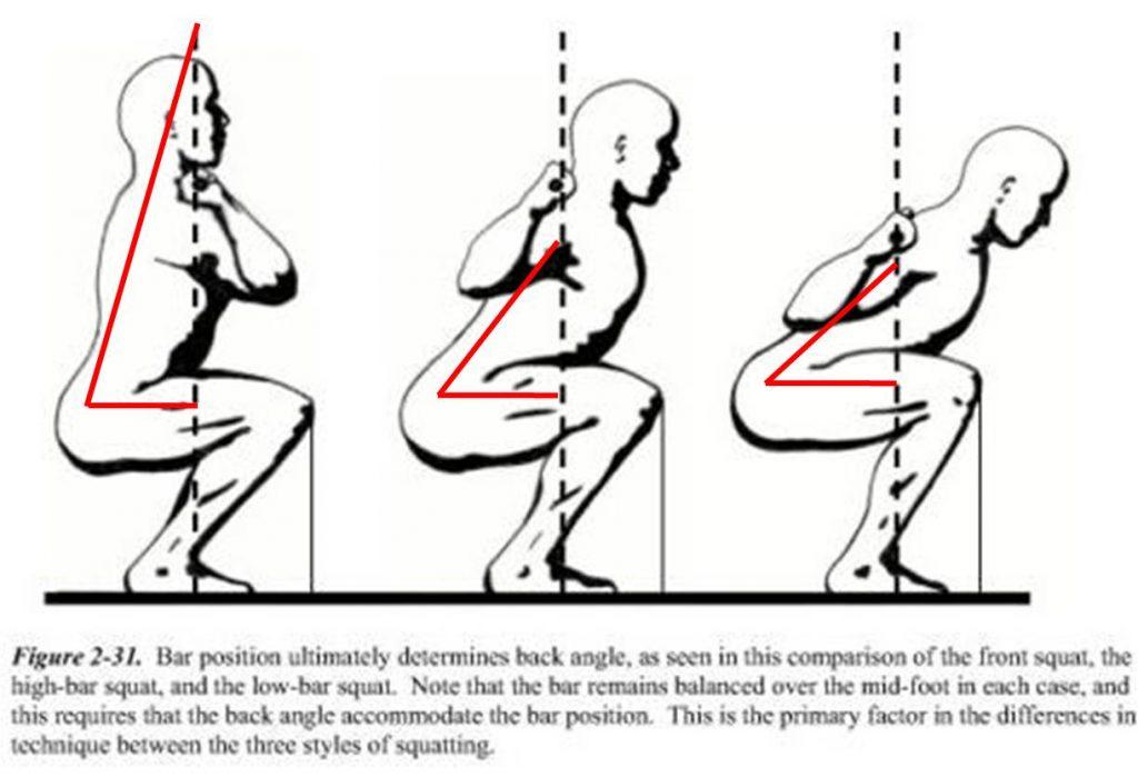 Squat avant vs Squat arrière barre haute vs Squat arrière barre basse