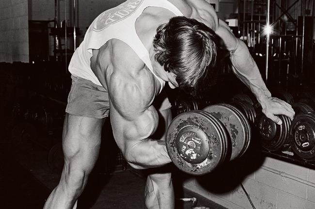 Arnold Schwarzenegger au curl concentré avec haltère